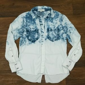 Thread & Supply ombre acid wash chambray button up
